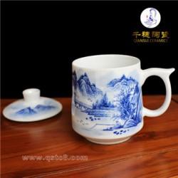 景德镇手绘陶瓷茶杯厂家批发  青花粉彩手绘