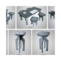石雕石桌椅博古架